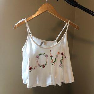 H & M Conscious 6 White LOVE crop top